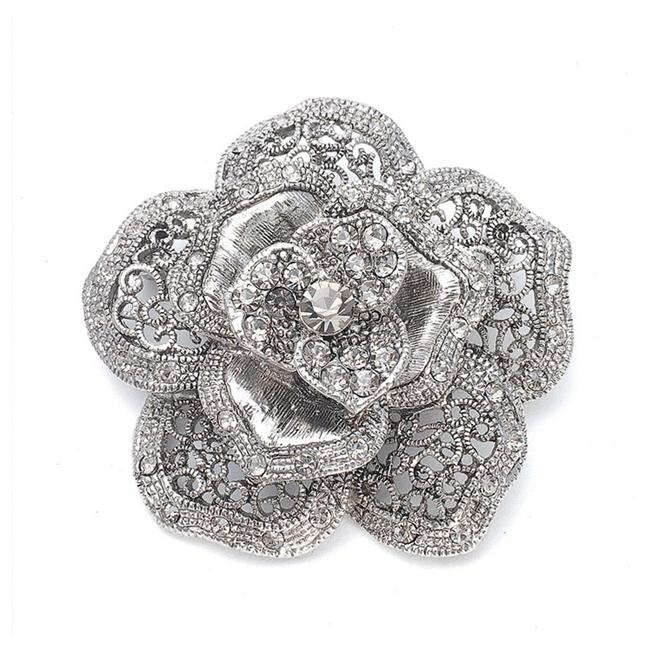 Item - Silver Vintage Rose Special Occasion 971p-as Brooch/Pin