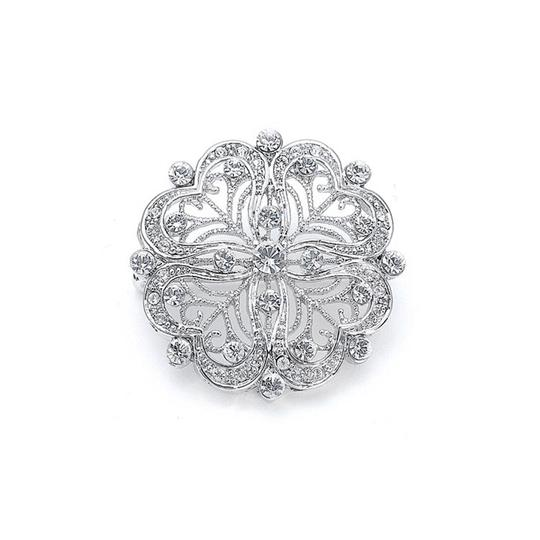 Mariell Silver Dainty Round Vintage In Cz P055 Brooch/Pin