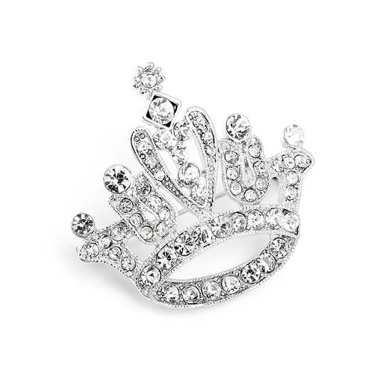Mariell Silver Crystal Rhinestone Crown For Pageant 3715p Brooch/Pin