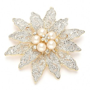 Mariell Two-tone Etched Flower & Pearl Bridal Brooch 980p-g