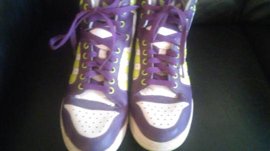 adidas white, purple and neon green Athletic
