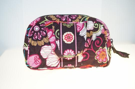 "Vera Bradley Brown Pink Red White Flowers 7x4"" Bag Makeup Accessories"