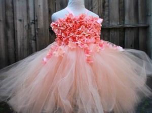 Peach Tulle Custom Made Flower Girl Made To Order Flower Girl In Infant To 10 Years Feminine Bridesmaid/Mob Dress Size OS (one size)