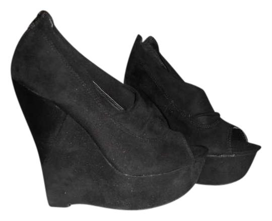 Diva Lounge Peep Toe Wedge Zipper Suede Black Boots