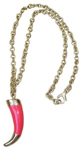 Roberto Cavalli Roberto Cavalli Enamel Coral HORN Necklace w/Gold Plated Chain