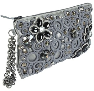 Catherine Malandrino Metallic Lambskin Beaded Wristlet Chain Applique Crystal Embellished Grey, Gray, Gunmetal Clutch