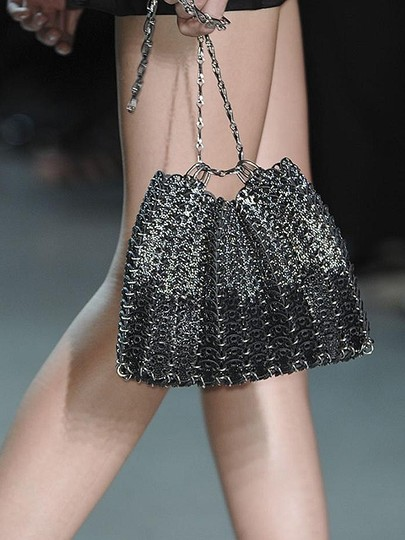 Other Metallic Chain Two-tone Silver Silver Hardware Shoulder Bag