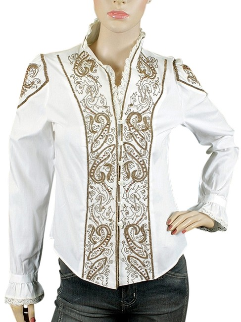 Etro Paisley Beaded Cotton Cowboy Embroidered Ruffle Button Down Shirt White, Rust, Brown