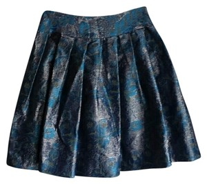 Tracy Reese Luxe Girly Skirt Blue Brocade