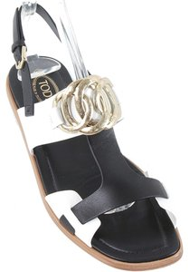 Tod's Hardware Two-tone Color-blocking Sandal Cut-out T-strap Calfskin Black, White, Gold Flats