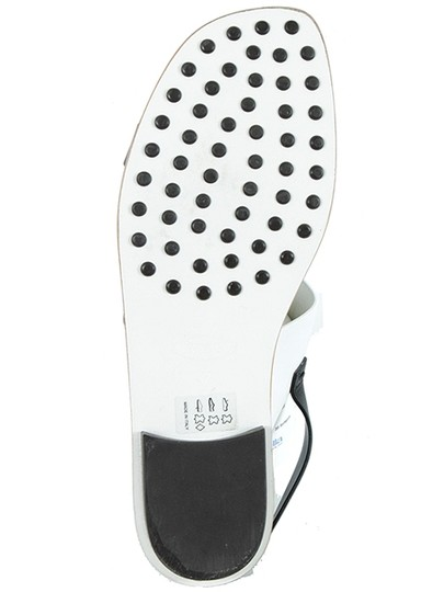 Tod's Hardware Two-tone Color-blocking T-strap Calfskin Black, White, Gold Flats