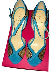 Kate Spade Teal and Gold Glitter Sandals