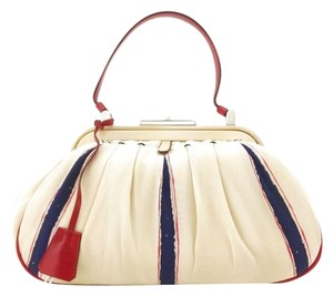 Prada Silver Hardware Leather Logo Striped Pleated Satchel in Ivory