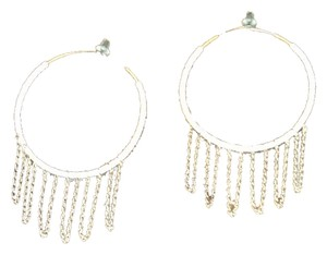 Zou Zou boutique White Hoop Earrings With Gold Chain Detail