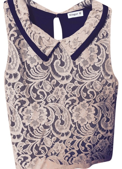 Gina G Lace Lined Top Taupe with Black Trim