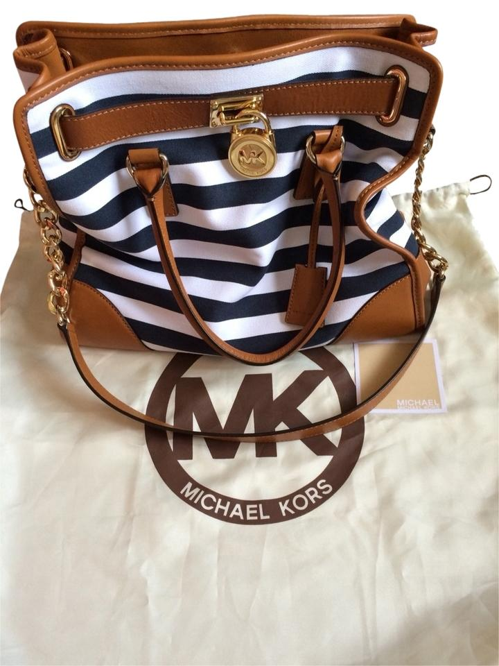 e8d0352045ac09 Michael Kors Canvas Navy/White Stripes Leather Tote Satchel in Navy/white/tan  ...