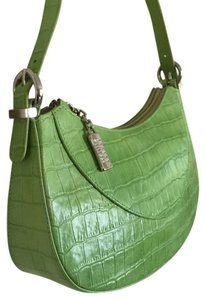 Stuart Weitzman Green Handbag Small Leather Croc Embossed Designer Handbag Wedding Handbag Shoulder Bag
