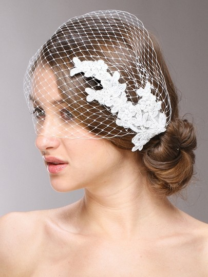 Mariell White Birdcage French Netting Bandeau with Vintage Lace 3911v Bridal Veil