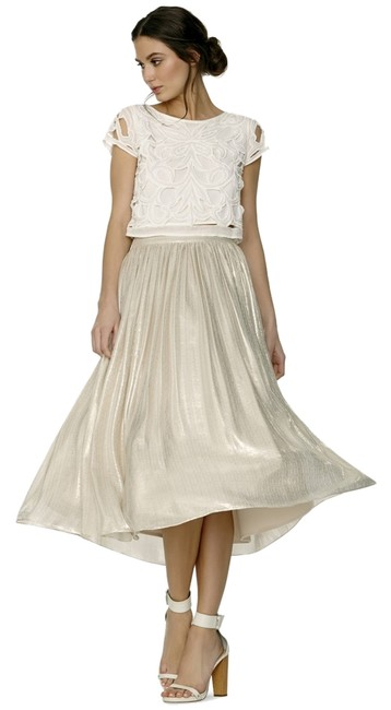 Alice + Olivia C505327621 And Shimmer Flowy Skirt Silver Metallic