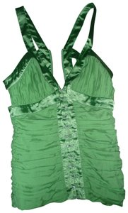 Bebe Silver Hardware Silk Satin Top Green