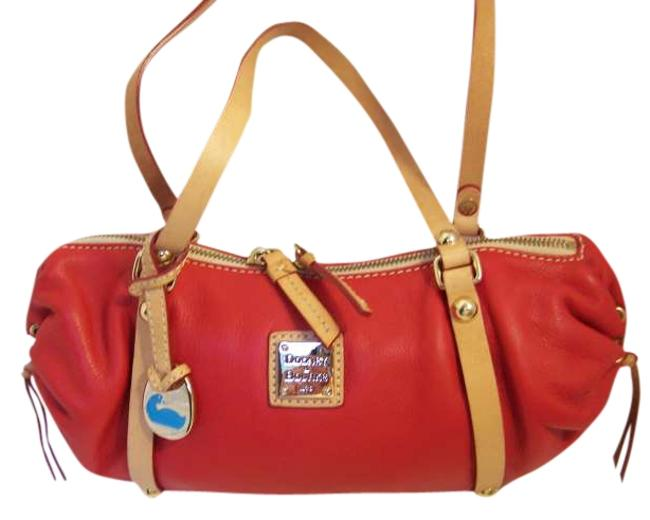 Item - Emma Red Tan Leather Baguette