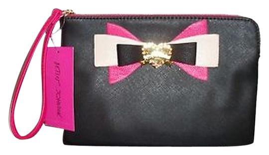 Betsey Johnson Pink Ivory Gold Heart Purse Cosmetic Wristlet in Black