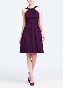 David's Bridal Plum Cotton Short Y-neck and Skirt Pleating Style 83690 Casual Bridesmaid/Mob Dress Size 4 (S)