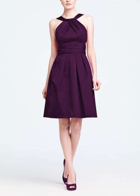 Item - Plum Cotton Short Y-neck and Skirt Pleating Style 83690 Casual Bridesmaid/Mob Dress Size 4 (S)