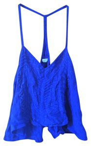 Ecote Crop Summer Dark Mesh See Through Light Flowy Girly Go Out Dressy Top Blue