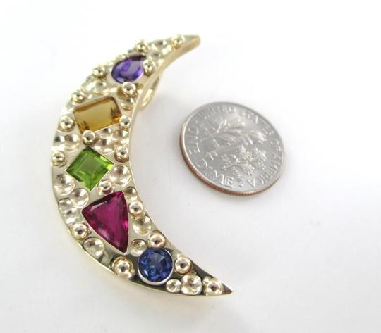Other 14K SOLID YELLOW GOLD PENDANT CRESCENT MOON MULTICOLOR STONES 10.2 GRAMS JEWELRY
