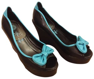 T.U.K Iron Fist Us Uk Cute Hot Sexy Yummy Leather Bow Tattoo Rockabilly Prom Homecoming Black, Blue Wedges