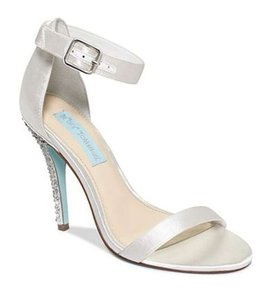 Betsey Johnson White with Rhinestone Heel and Light Blue Sole Strappy Glitter Pumps Stilettos Sandals Size US 6.5