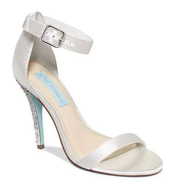 Item - White with Rhinestone Heel and Light Blue Sole Strappy Glitter Pumps Stilettos Sandals Size US 6.5