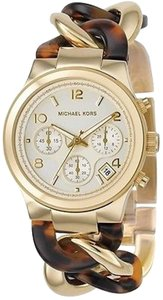 Michael Kors Michael Kors Goldtone Steel And Tortoise Acrylic Ladies Watch Mk4222