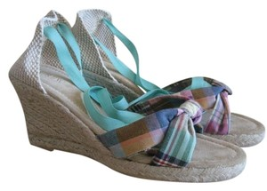 J.Crew Sweet Briar/ Multi Color with blues & greens Sandals