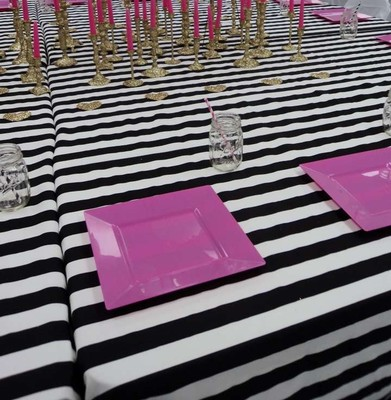 Striped Tablecloth Black And White 45 Off 357818