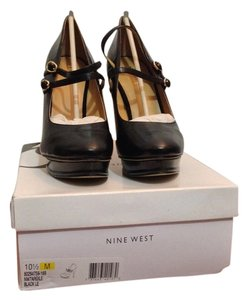 Nine West Leather Black Platforms