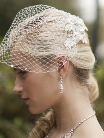 Mariell White Birdcage Bold Crystal Lace Applique with French Net Blusher & Scattered Crystal Edge 4103v-w Bridal Veil