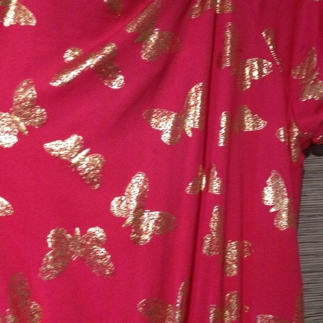 Juicy Couture Pink Beach Beach Royalty Top Fuchsia With Gold Butterflies