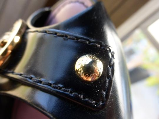 Louis Vuitton black patent leather open toe Pumps