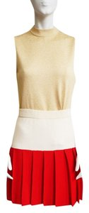 St. John Santana 2 Tone Colorblock White Red Pleated Small 2 4 Skirt Red, White