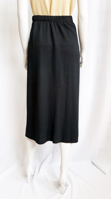 St. John Santana Knit Long Calf Length Straight Pleats S 4 6 Vintage Skirt Black