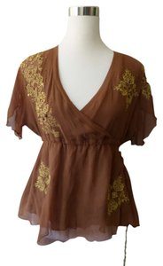 Sugarlips Bohemian Kimono Sleeve Gold Silk Brown Top