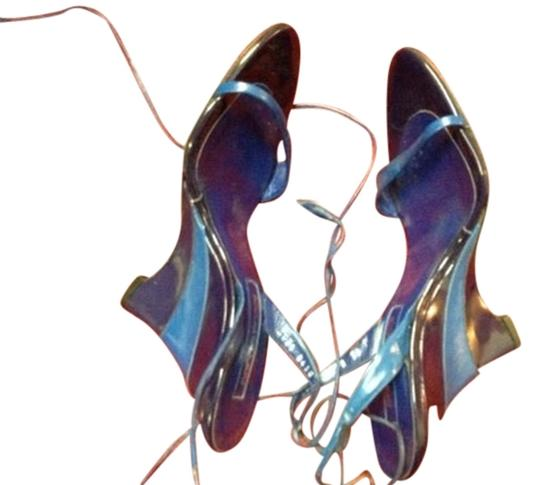 Sergio Rossi Vintage Leather Two Tone Blue Wedges