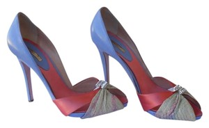 Mario Bologna Rhinestones Of A Kind Lavendar Leather, Nude Color Snakeskin and Coral Satin Formal Shoe Pumps