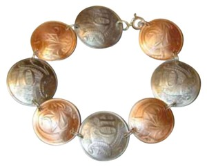 Wearable Coins and Clocks Handmade bracelet of Antique Australia coins