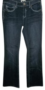 H Trademark Iconic Slim Whiskering Embellished Cotton/spandex Boot Cut Jeans-Dark Rinse