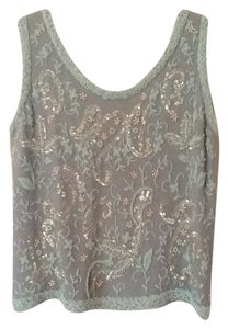 Dragon House Vintage Sequin Beaded Top Powder blue