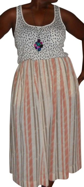 Campus Casuals of California Sheer Vintage Pleated A-line Striped Polyester Skirt