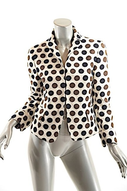 Akris Polka Dots Cotton Beige w/Brown & White Blazer Image 2